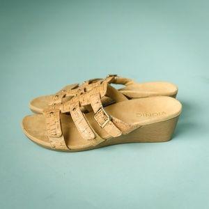 Vionic 7 Radia Wedge Cork Strap Slides Sandals